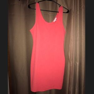 Orangish pink fitted dress from Charlotte Russe.